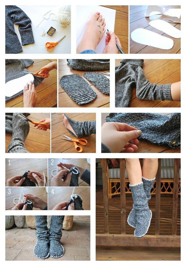 kako da napravite papuče od starog džempera