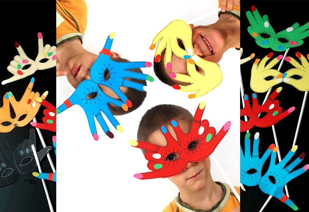 Napravite masku koristeći detetov otisak ruke